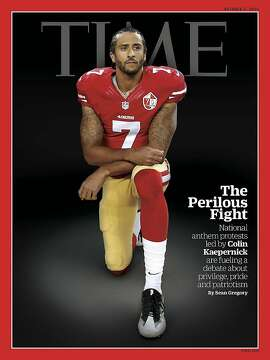 A photo illustration of a photo by Michael Zagaris of Colin Kaepernick is on this week's Time Magazine.