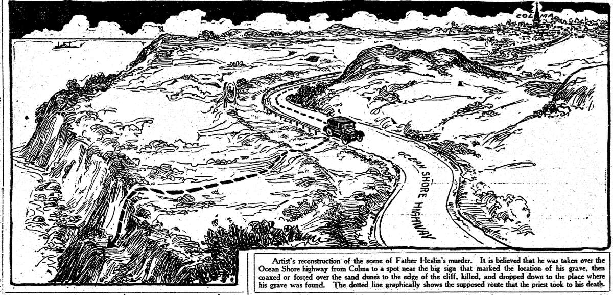 A Chronicle drawing showing the route of the car that took Father Heslin from his church.
