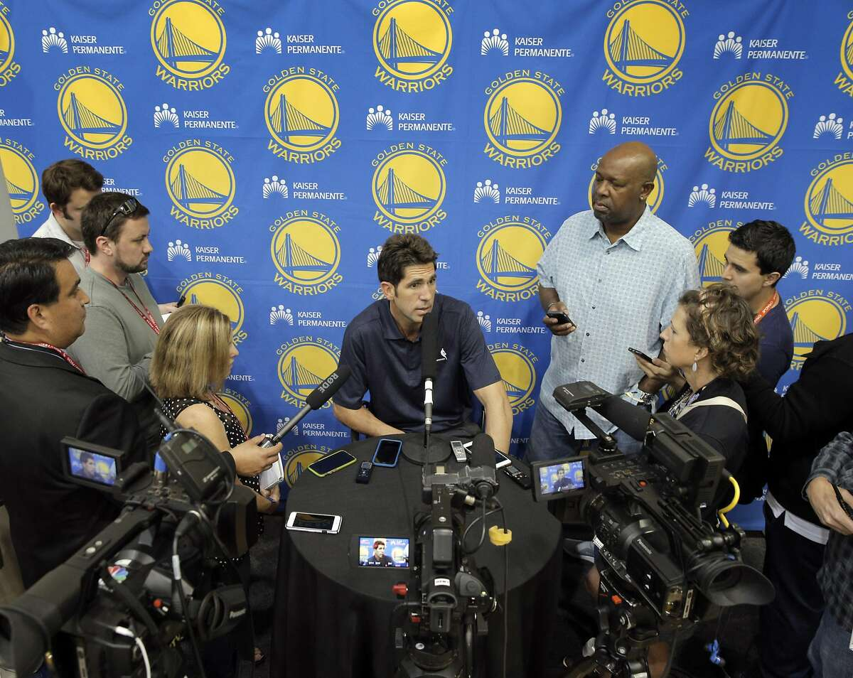 Warriors General Manager Bob Myers, speaks with the press at the team's practice facility in Oakland, Calif., on Thursday, September 22, 2016. Myers addressed several topics including athlete protests and how the NBA might deal with them, and general team news.
