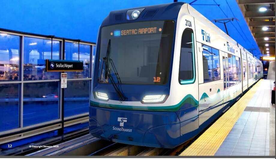 Renderings show roughly what Sound Transit's 122 new light rail cars will look like when they start arriving for testing in 2019. New cars will have more space for luggage, bikes and people as light rail expands north, south and east as Sound Transit 2 is built out. Photo: Courtesy Sound Transit