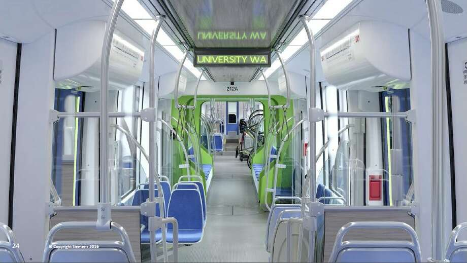 Renderings show roughly what Sound Transit's 122 new light rail cars will look like when they start arriving for testing in 2019. The transit agency announced the $554 million order Thursday. New cars will have more space for luggage, bikes and people as light rail expands north, south and east as Sound Transit 2 is built out. Photo: Courtesy Sound Transit