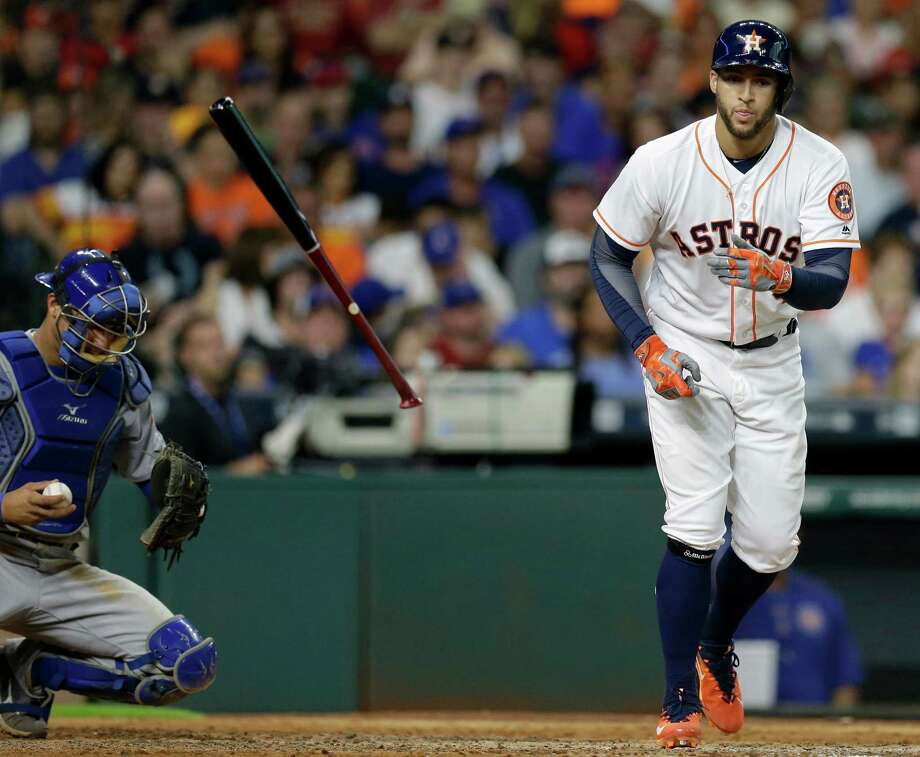 Houston Astros  George Springer takes the base on a walk against the Chicago Cubs during the seventh inning at Minute Maid Park Saturday, Sept. 10, 2016, in Houston.  ( Melissa Phillip / Houston Chronicle ) Photo: Melissa Phillip, Staff / © 2016 Houston Chronicle