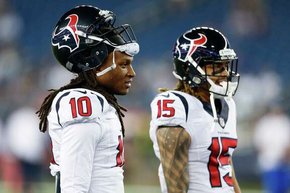 Houston Texans wide receiver DeAndre Hopkins (10) and wide receiver Will Fuller (15) before an NFL football game at Gillette Stadium on Thursday, Sept. 22, 2016, in Foxborough, Mass.