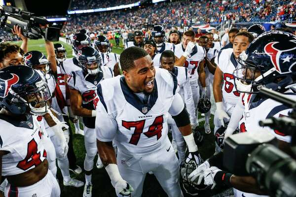 Houston Texans tackle Chris Clark (74) pumps up the team before an NFL football game at Gillette Stadium on Thursday, Sept. 22, 2016, in Foxborough, Mass.