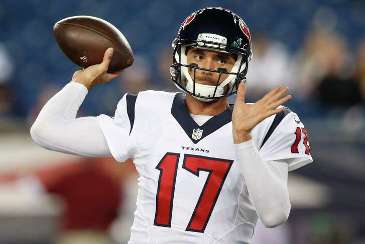 Houston Texans quarterback Brock Osweiler (17) makes  a pass before an NFL football game at Gillette Stadium on Thursday, Sept. 22, 2016, in Foxborough, Mass.