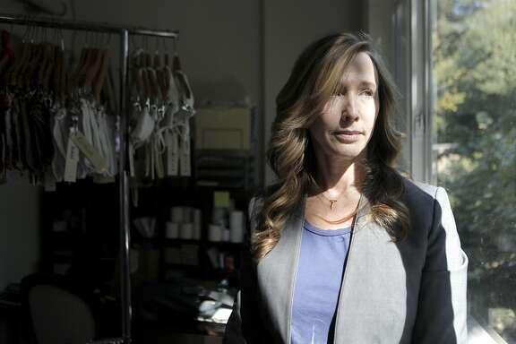 Deidra Carson poses in Beach Bella's stockroom in San Anselmo, California on Friday, September 9,  2016.