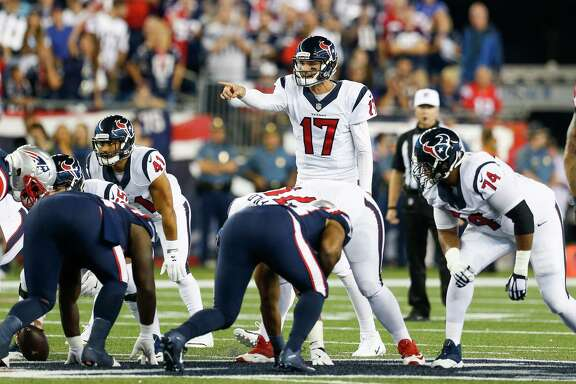 Houston Texans quarterback Brock Osweiler (17) calls a play during the first quarter of an NFL football game at Gillette Stadium on Thursday, Sept. 22, 2016, in Foxborough, Mass.