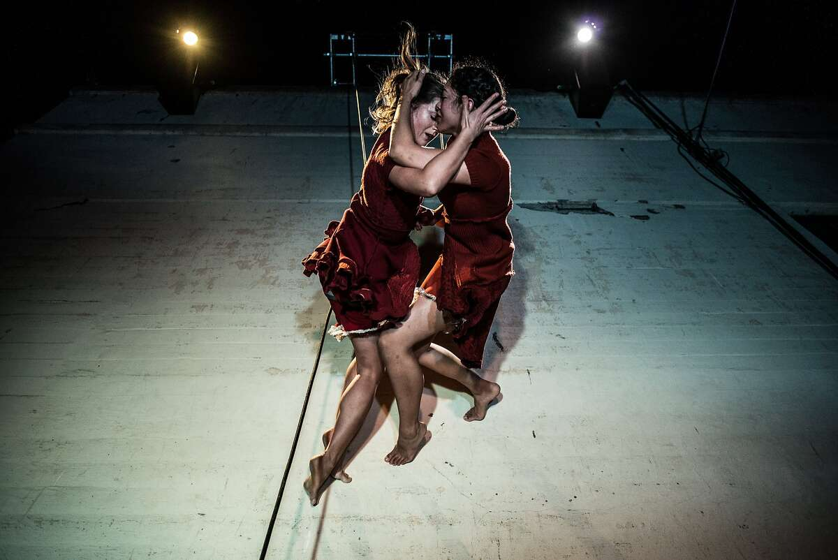 Marystarr Hope (left) and Karla Quintero perform in the world premiere of Flyaway Productions' Grace and Delia are Gone at the Firehouse at Fort Mason Center. Concept and choreography by Jo Kreiter. Photo by Austin Forbord/Rapt Productions