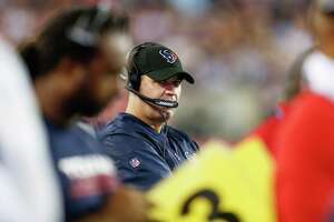 Houston Texans head coach Bill O'Brien watches his team during the first quarter of an NFL football game at Gillette Stadium on Thursday, Sept. 22, 2016, in Foxborough, Mass.
