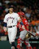 Houston Astros shortstop Carlos Correa (1) reacts as he strikes out during the second inning of an MLB game at Minute Maid Park, Thursday, Sept. 22, 2016 in Houston.