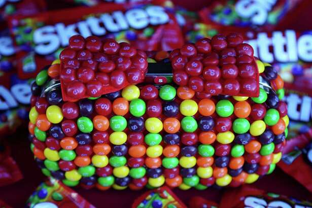 JOLIET, IL - SEPTEMBER 18:  Details of the Skittles gifts given to Kyle Busch, driver of the #18 Skittles Toyota, prior to the NASCAR Sprint Cup Series Teenage Mutant Ninja Turtles 400 at Chicagoland Speedway on September 18, 2016 in Joliet, Illinois.  (Photo by Sarah Crabill/Getty Images)