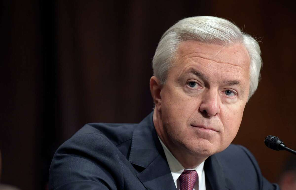 In this Tuesday, Sept. 20, 2016, photo, Wells Fargo CEO John Stumpf testifies on Capitol Hill in Washington, before the Senate Banking Committee. The San Francisco Fed said Thursday, Sept. 22, 2016, that Stumpf is resigning his position on the Federal Reserve's advisory council amid a scandal over millions of accounts allegedly opened by the bank without customers' permission. (AP Photo/Susan Walsh)