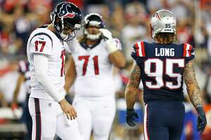 Houston Texans quarterback Brock Osweiler (17) comes off the field during the fourth quarter of an NFL football game at Gillette Stadium on Thursday, Sept. 22, 2016, in Foxborough, Mass.