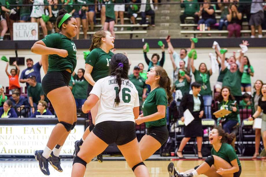 ncarnate Word celebrates after defeating Antonian at Littleton Gym on Thursday. The win was Incarnate Word's first over Antonian since a five-set decision on Sept. 11, 2013. Photo: Ray Whitehouse / For The San Antonio Express-News