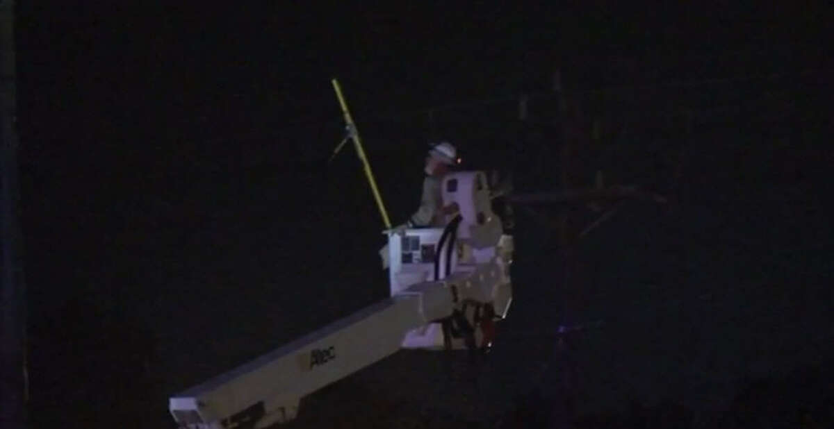 A pickup truck driver veered from the road and smashed into a power pole, about 2 a.m. Friday, Sept. 23, 2016, on North Gessner near Heron Lakes Drive, knocking out power for residents in the nearby neighborhood. (Metro Video)