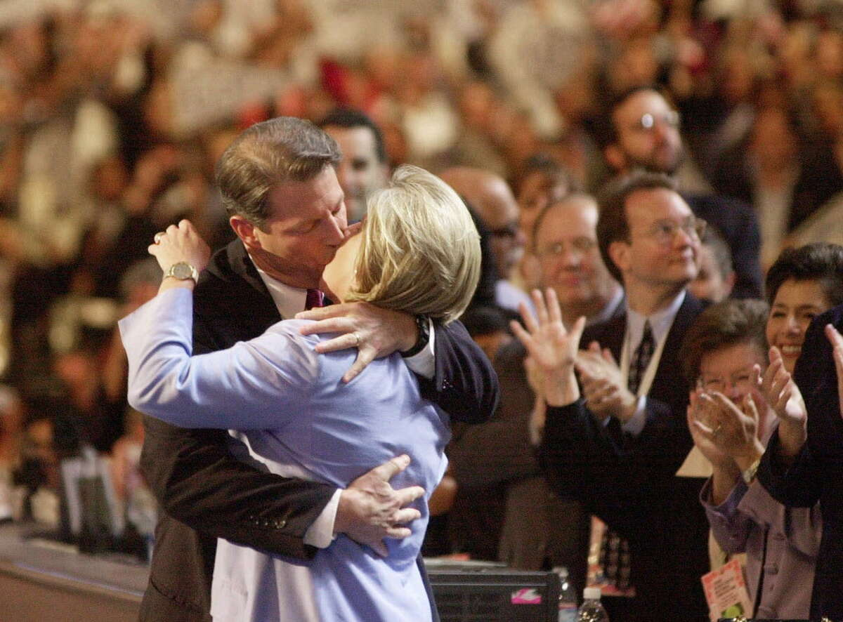 Unconventional Democratic presidential nominee Al Gore kissed his wife, Tipper on the stage at the Democratic National Convention in Los Angeles. It was a scarring moment.