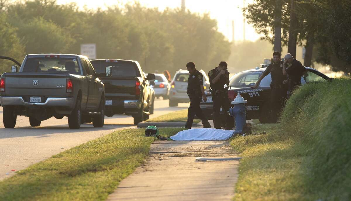 One person died early Friday, Sept. 23, 2016, in a motorcycle crash on the inbound Katy Freeway service road at Greenhouse. (Houston Chronicle / Steve Gonzales)