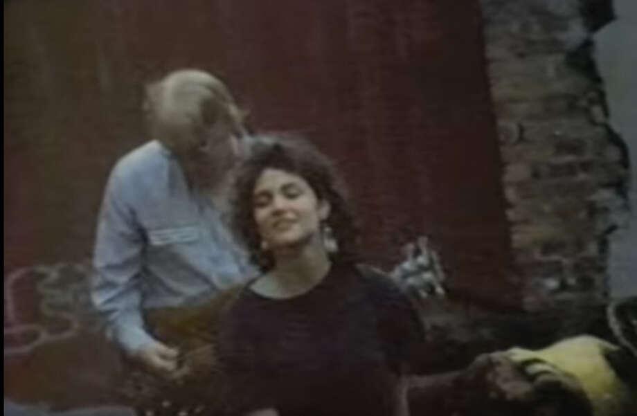 "Mambo X. A video still from their 1986 video for ""Lunar Afternoon"" Erin O'Hara (vocals), Seth Kaufman (guitar) Mitchell Rosen (guitar) Mark Wilken (bass) Barry Litman (drums). Photo: Youtube"