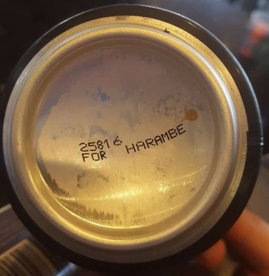 """For Harambe"" was printed on a beer can in honor of Harambe the gorilla's death at True Vine Brewing Co. in Tyler, Texas. Photo: Courtesy/Reddit"