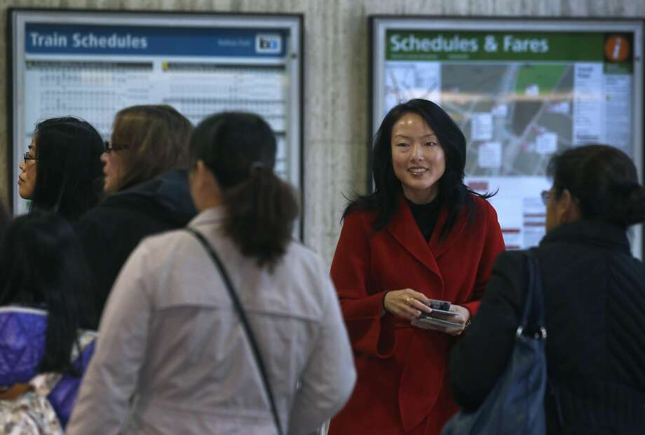 Supervisor Jane Kim stumps for votes at the Balboa Park BART Station in her bid to succeed state Sen. Mark Leno. Photo: Paul Chinn, The Chronicle