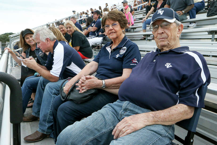 Ivan Snoga and his wife Evelyn watch their grandson, Luke Moorman, play in a Smithson Valley junior-varsity football game against East Central at Ranger Stadium on Sept. 23, 2016. Photo: Marvin Pfeiffer /San Antonio Express-News / Express-News 2016