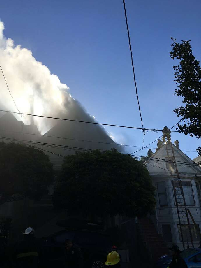 Firefighters battled a two-alarm blaze Friday morning in Bernal Heights. Photo: SF Fire Department