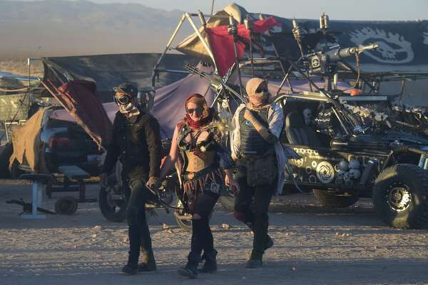 Festival goers attend the first day of Wasteland Weekend in the high desert community of California City in the Mojave Desert, California, where people are gathering for the world's largest post-apocalyptic festival.  / AFP / FREDERIC J BROWN        (Photo credit should read FREDERIC J BROWN/AFP/Getty Images)
