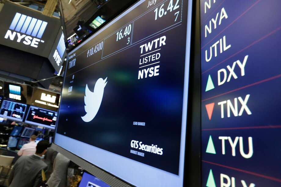 FILE - In this July 27, 2016 file photo, the Twitter symbol appears above a trading post on the floor of the New York Stock Exchange.  Twitter's stock is soaring following a report that it may be moving closer to selling the business, Friday, Sept. 23. Twitter's CEO Jack Dorsey has struggled to come up with a strategy to attract people to the messaging service, while Facebook and Snapchat race ahead in the battle for people's attention and allegiance.(AP Photo/Richard Drew) Photo: Richard Drew, Associated Press
