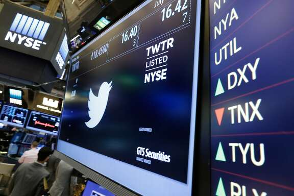 FILE - In this July 27, 2016 file photo, the Twitter symbol appears above a trading post on the floor of the New York Stock Exchange.  Twitter�s stock is soaring following a report that it may be moving closer to selling the business, Friday, Sept. 23. Twitter�s CEO Jack Dorsey has struggled to come up with a strategy to attract people to the messaging service, while Facebook and Snapchat race ahead in the battle for people�s attention and allegiance.(AP Photo/Richard Drew)