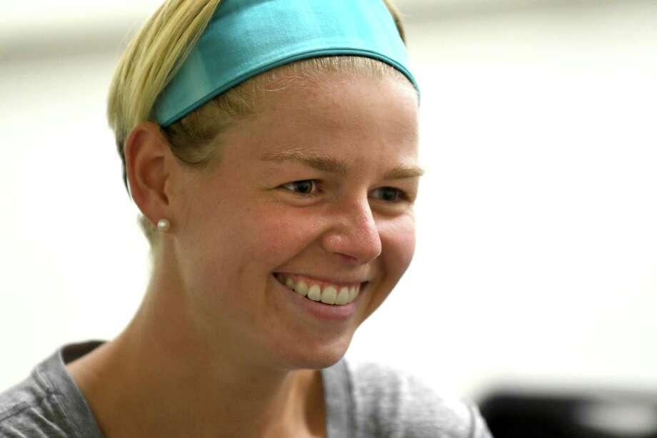 University at Albany field hockey player Paula Heuser is interviewed at UAlbany on Tuesday, Sept. 20, 2016 in Albany, N.Y.  (Lori Van Buren / Times Union) Photo: Lori Van Buren / 40038087A