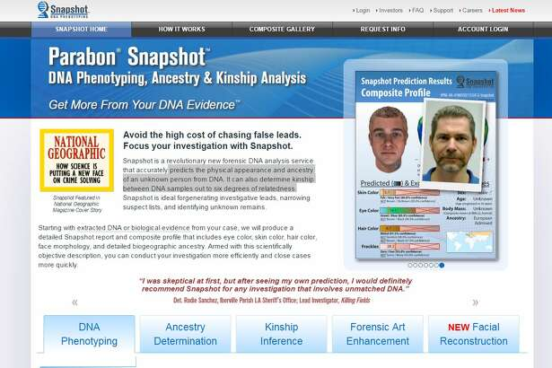 A screenshot of the new software that could help solve cold cases.