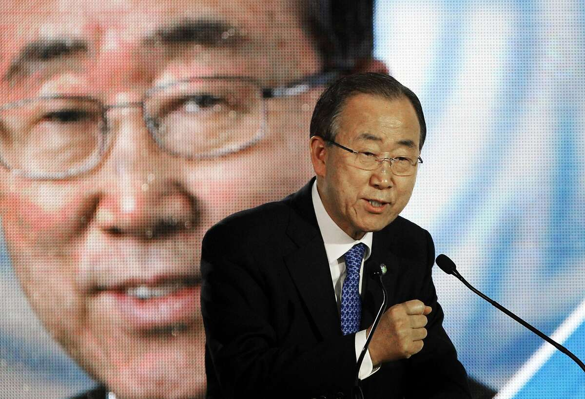 FILE - In this Dec. 10, 2015, file photo, U.N. Secretary General Ban Ki-moon, delivers a speech during a conference at the COP21, the United Nations Climate Change Conference in Le Bourget, north of Paris. Ban�s dedication to the climate change issue helped secure a first-of-its kind agreement in Paris on curbing greenhouse gas emissions that cause global warming. (AP Photo/Christophe Ena, File)