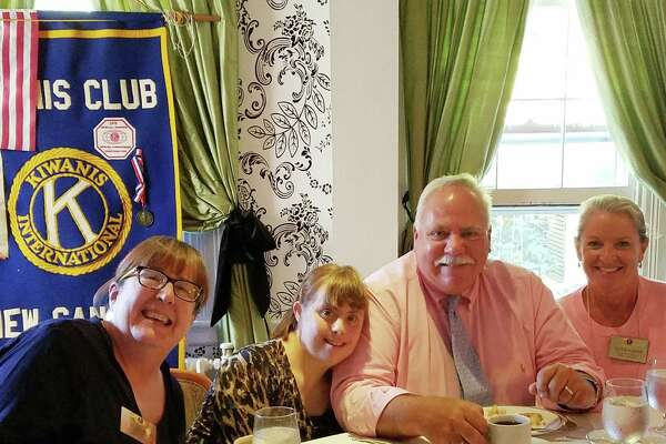 Kiwanis President BJ Flagg, from left, Nicki DuBiago, a STAR participant who is a New Canaan resident, Peter Saverine, director of philanthropy at STAR, Tucker Murphy, executive director of the New Canaan Chamber of Commerce, attend a recent Kiwanis luncheon.