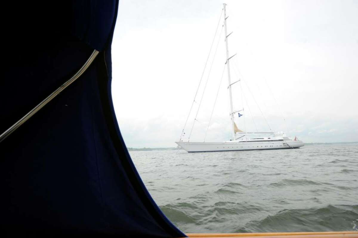 The Mirabella 5, the largest sloop in the world, is owned by Joseph and Luciana Vittoria, former residents of Greenwich. The couple brought the boat to Greenwich Harbor on Monday, May 3, 2010. The sloop is seen from Mirabella's tender.