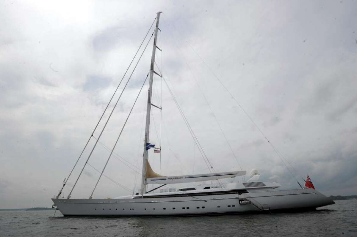 The Mirabella 5, the largest sloop in the world, is owned by Joseph and Luciana Vittoria, former residents of Greenwich. The couple brought the boat to Greenwich Harbor on Monday, May 3, 2010.