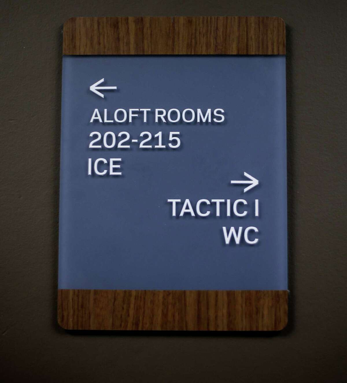 """A placard on the second floor of Aloft, includes the nomenclature for the hotel including """"WC"""" for restrooms and """"Tactic"""" for meeting rooms. Photos of Aloft Houston in its final weeks of construction as one of the latest hotels to open in Houston. Photos taken on Wednesday, Sept. 21, 2016, in Houston. ( Elizabeth Conley / Houston Chronicle )"""