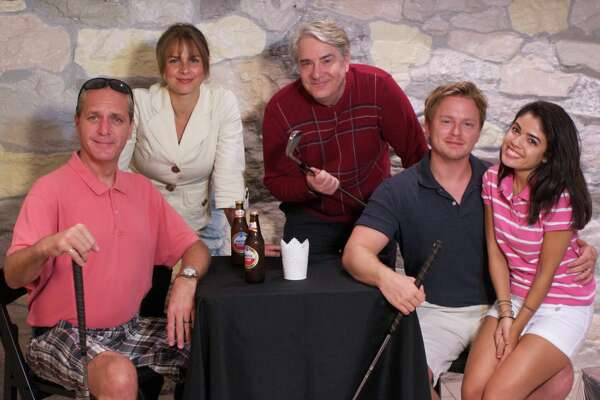 """Fox on the Fairway"" cast features, Brian Riley, left, of New Haven; Margie Johnson, of Milford; Barry Hatrick, of Milford; Kiel Stango, of Waterbury; and Cecelia Kurachi Ube, of Cheshire."