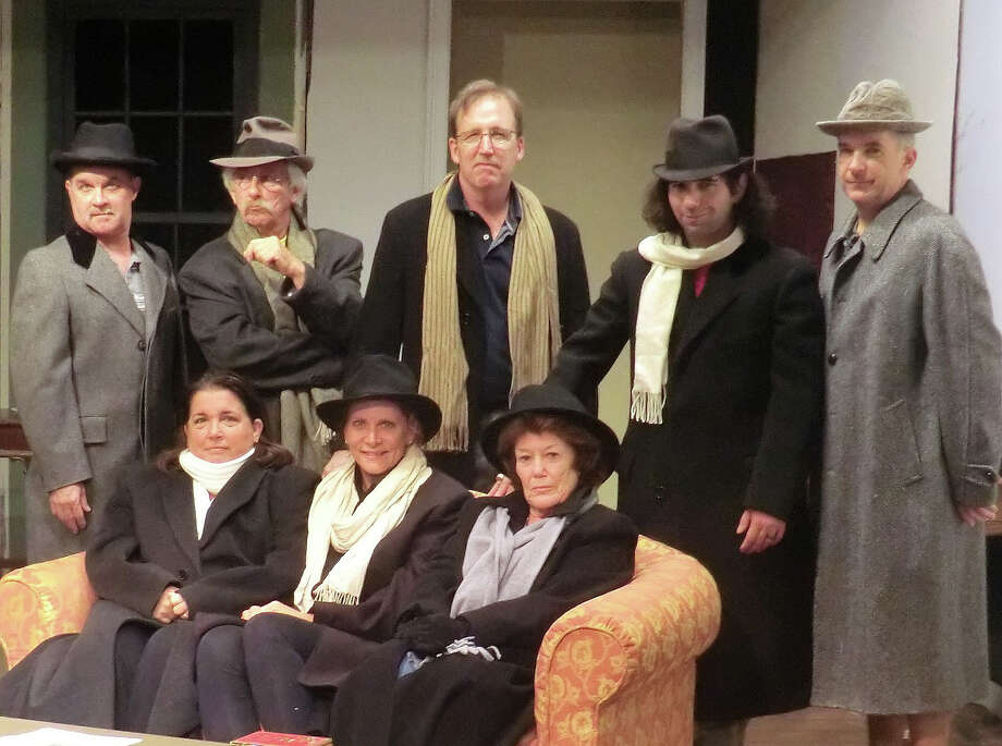 """Strangers are trapped in a snowstorm in """"The Mousetrap,"""" a murder-mystery on stage in Newtown, Friday, Sept. 30, through Saturday, Oct. 22. Seated, from left, are Keli Solomon, Kimberly Marcus and Judy Sullivan. Standing, from left, are Brian DeToma, Ron Malyszka, Christopher Bird, Jeffry Bukowski and Rick Haylon. Photo: Courtesy Of Town Players / Contributed Photo"""