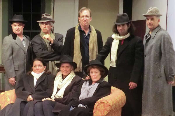 "Strangers are trapped in a snowstorm in ""The Mousetrap,"" a murder-mystery on stage in Newtown, Friday, Sept. 30, through Saturday, Oct. 22. Seated, from left, are Keli Solomon, Kimberly Marcus and Judy Sullivan. Standing, from left, are Brian DeToma, Ron Malyszka, Christopher Bird, Jeffry Bukowski and Rick Haylon."