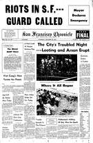 Historic Chronicle Front Page September  28, 1966  Riot breaks out in Hunter's Point after police shoot a young black man