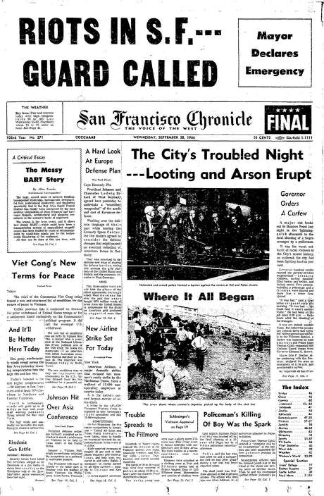 The Chronicle's front page from Sept. 28, 1966, covers the Hunters Point riots. Photo: The Chronicle 1966