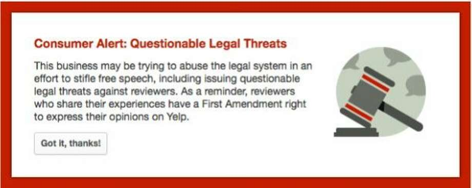 Yelp is flagging the review sites of some businesses that sued customers for leaving negative reviews. Photo: Yelp
