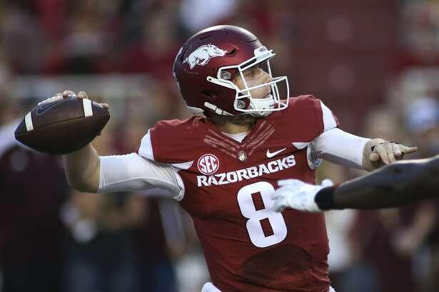 Arkansas' Austin Allen looks to pass the ball during the first quarter of an NCAA college football game against Texas State Saturday, Sept. 17, 2016 in Fayetteville, Ark. Arkansas won 42-3. (AP Photo/Samantha Baker)