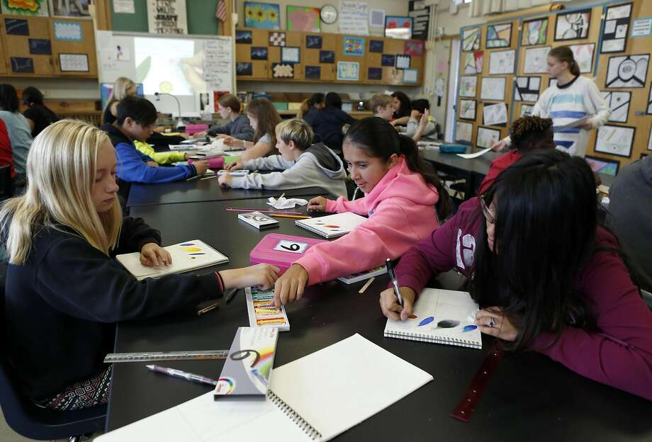 Students work in a seventh-grade art class at Sequoia Middle School in Pleasant Hill, where a ballot measure would aid teachers. Photo: Paul Chinn, The Chronicle