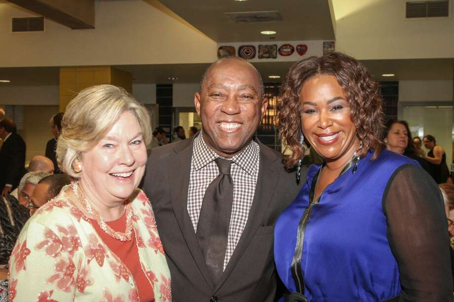 Fredericka Brecht with Mayor Sylvester Turner and Deborah Duncan Photo: Kim Coffman