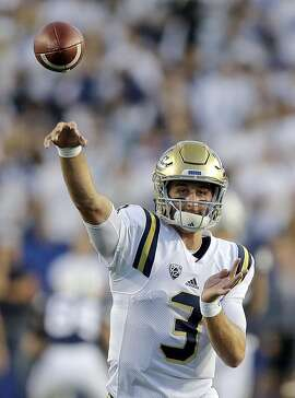 UCLA quarterback Josh Rosen (3) throws before the start of their NCAA college football game against BYU Saturday, Sept. 17, 2016, in Provo, Utah.  (AP Photo/Rick Bowmer)