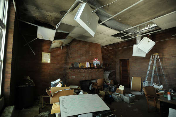 Damage shows in a second-floor room at the Orcutt Boys and Girls Club at 102 Park St. in Bridgeport on Thursday.
