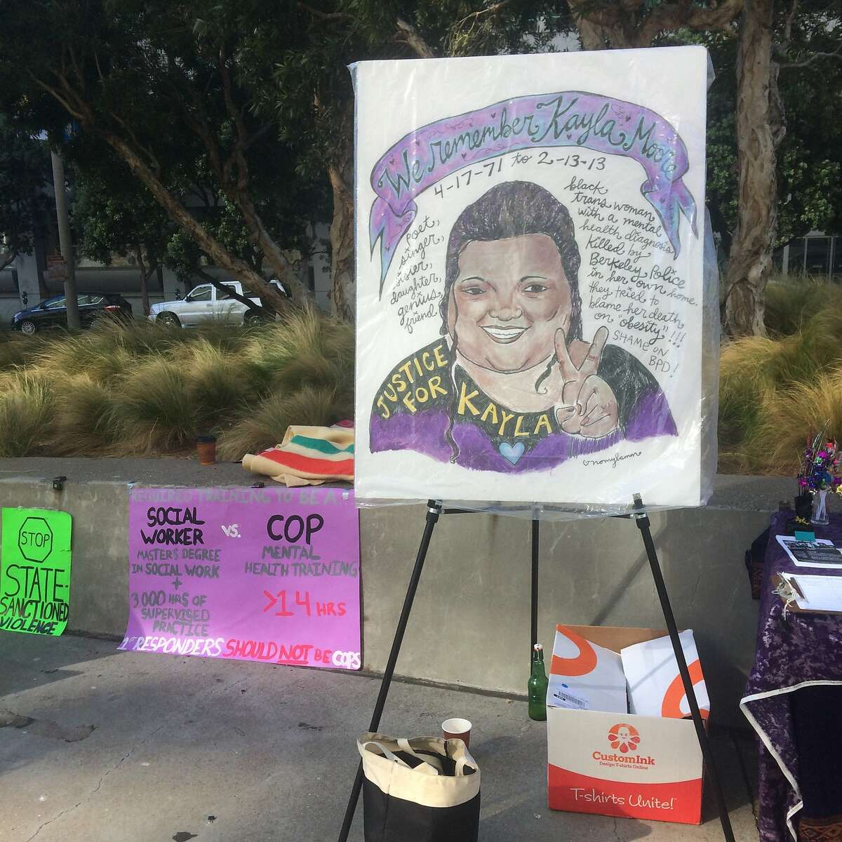 A memorial to Kayla Moore, who died during an encounter with Berkeley police in 2013, was set up by supporters of the Moore family outside the Phillip Burton Federal Building and US Courthouse on Friday.