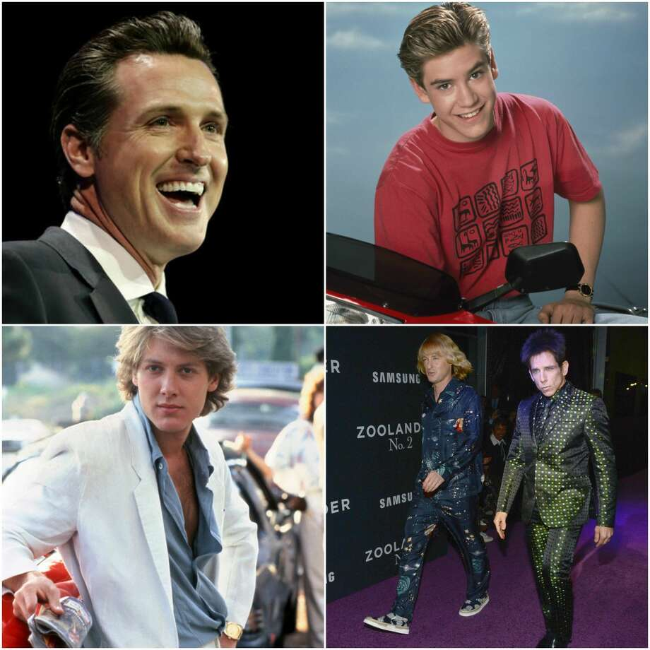 "California Lieutenant Governor Gavin Newsom: Zach Morris from ""Saved by the Bell"", Zoolander from ""Zoolander"", and Steff from ""Pretty in Pink."" Photo: Photos Courtesy Of Chronicle, NBC, Michael Ochs Archives, And Kevin Mazur"