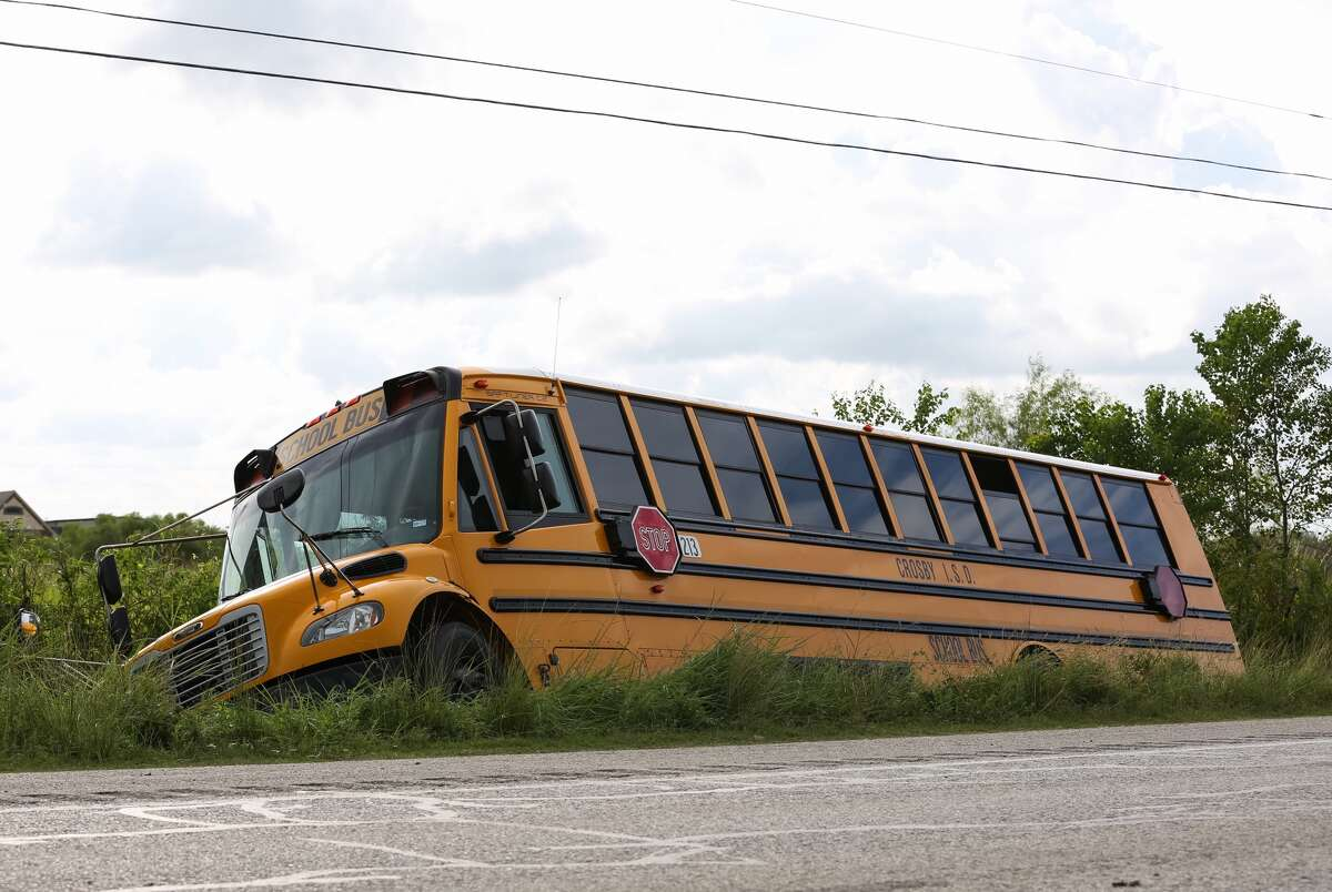 The school bus crashed at FM 1942 and Bohemian Hall on Friday afternoon. The Crosby Independent School District reported 14 students were injured. The bus driver was also hurt.